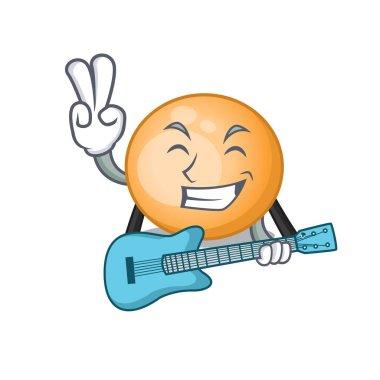 Talented musician of staphylocuccus aureus cartoon design playing a guitar