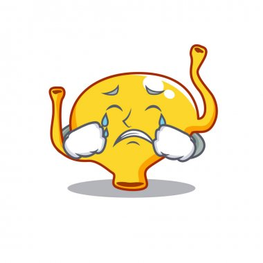 Cartoon character design of bladder with a crying face