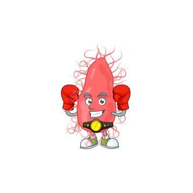 A sporty escherichia boxing athlete cartoon mascot design style