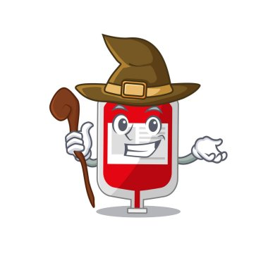 Blood plastic bag funny but sneaky witch cartoon character design. Vector illustration icon