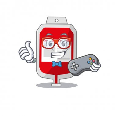 Mascot design style of blood plastic bag gamer playing with controller. Vector illustration icon