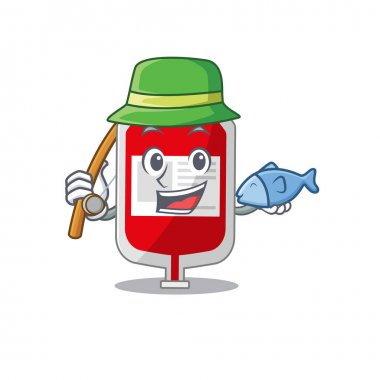 Cartoon design style of blood plastic bag goes to fishing. Vector illustration icon