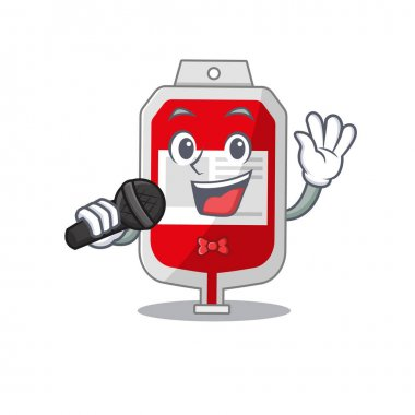 Cartoon character of blood plastic bag sing a song with a microphone. Vector illustration icon