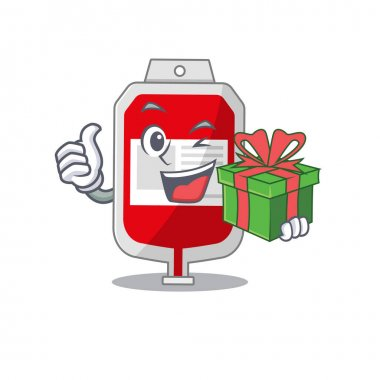 Joyful blood plastic bag cartoon character with a big gift box. Vector illustration icon