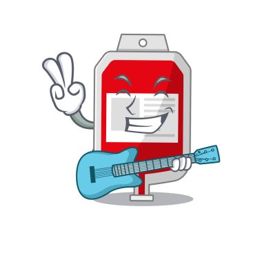 Brilliant musician of blood plastic bag cartoon design playing music with a guitar. Vector illustration icon