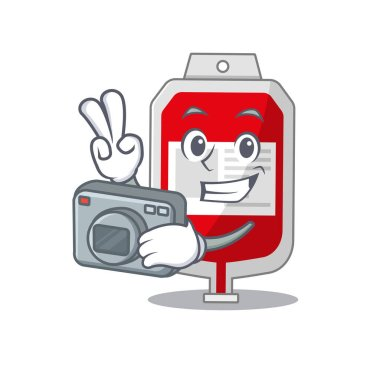 A professional photographer blood plastic bag cartoon picture working with camera. Vector illustration icon