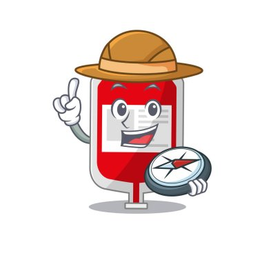 Mascot design concept of blood plastic bag explorer using a compass in the forest. Vector illustration icon