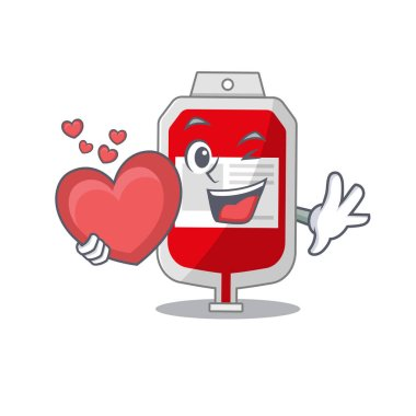 A sweet blood plastic bag cartoon character style holding a big heart. Vector illustration icon