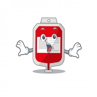 Blood plastic bag mascot design concept having a surprised gesture. Vector illustration icon