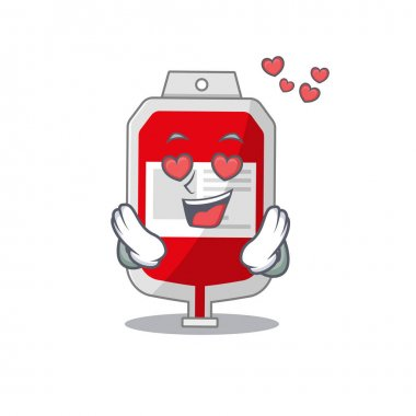 Romantic blood plastic bag cartoon character has a falling in love eyes. Vector illustration icon