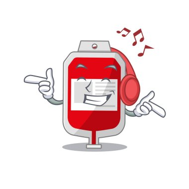 Blood plastic bag Cartoon design concept listening music on headphone. Vector illustration icon