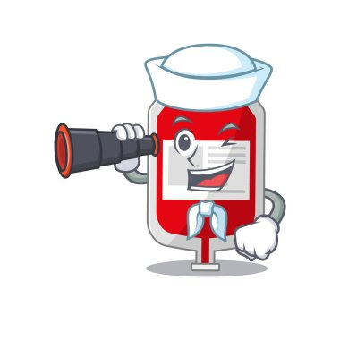 A cartoon picture of blood plastic bag Sailor using binocular. Vector illustration icon