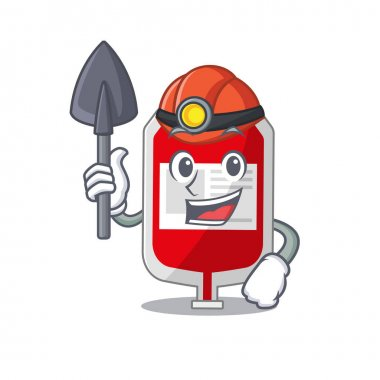 A cartoon picture of blood plastic bag miner with tool and helmet. Vector illustration icon