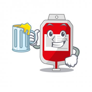 A cartoon concept of blood plastic bag with a glass of beer. Vector illustration icon