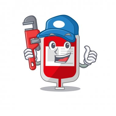Cartoon character design of blood plastic bag as a Plumber with tool. Vector illustration icon