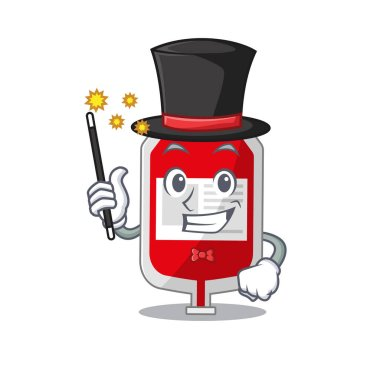 A gorgeous smart Magician of blood plastic bag cartoon design style. Vector illustration icon