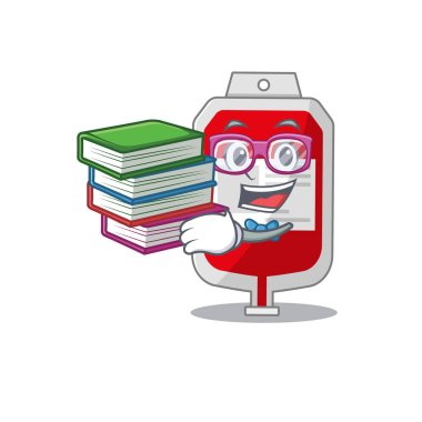 A diligent student in blood plastic bag mascot design concept read many books. Vector illustration icon