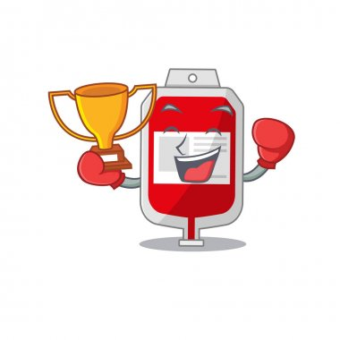 An elegant boxing winner of blood plastic bag caricature design concept. Vector illustration icon