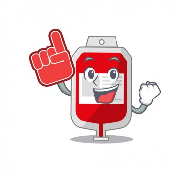 Blood plastic bag in cartoon drawing character design with Foam finger. Vector illustration icon