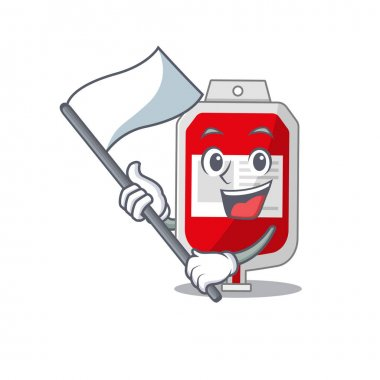A heroic blood plastic bag mascot character design with white flag. Vector illustration icon