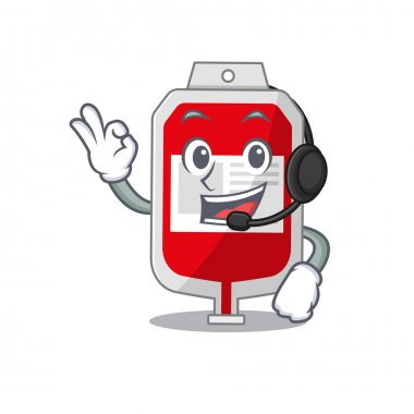 A stunning blood plastic bag mascot character concept wearing headphone. Vector illustration icon
