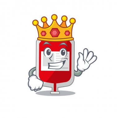 A Wise King of blood plastic bag mascot design style with gold crown. Vector illustration icon
