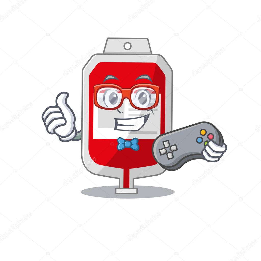 Mascot design style of blood plastic bag gamer playing with controller icon