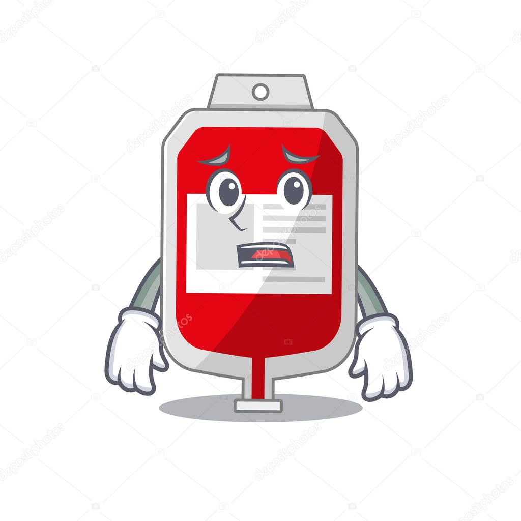 Cartoon design style of blood plastic bag having worried face icon