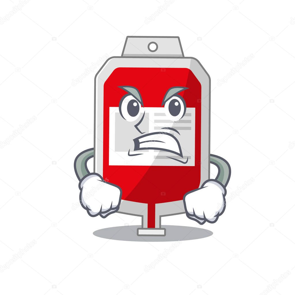 A cartoon picture of blood plastic bag showing an angry face icon