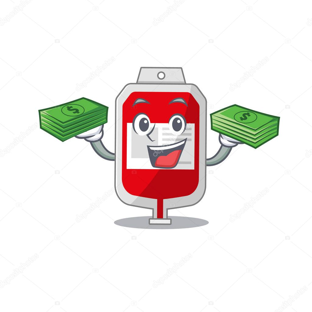 A wealthy blood plastic bag cartoon character with much money icon