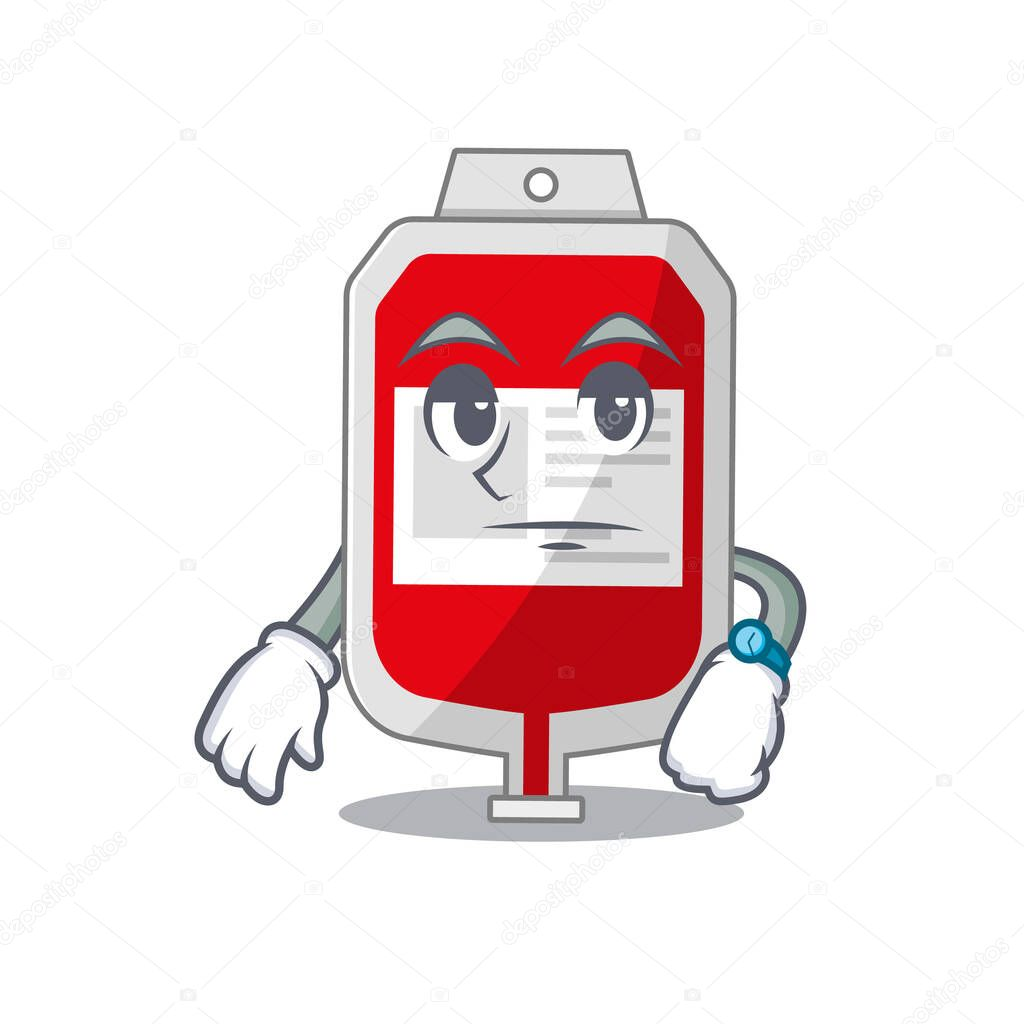Mascot design style of blood plastic bag with waiting gesture icon