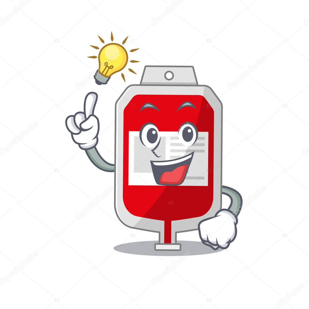 Mascot character of smart blood plastic bag has an idea gesture icon