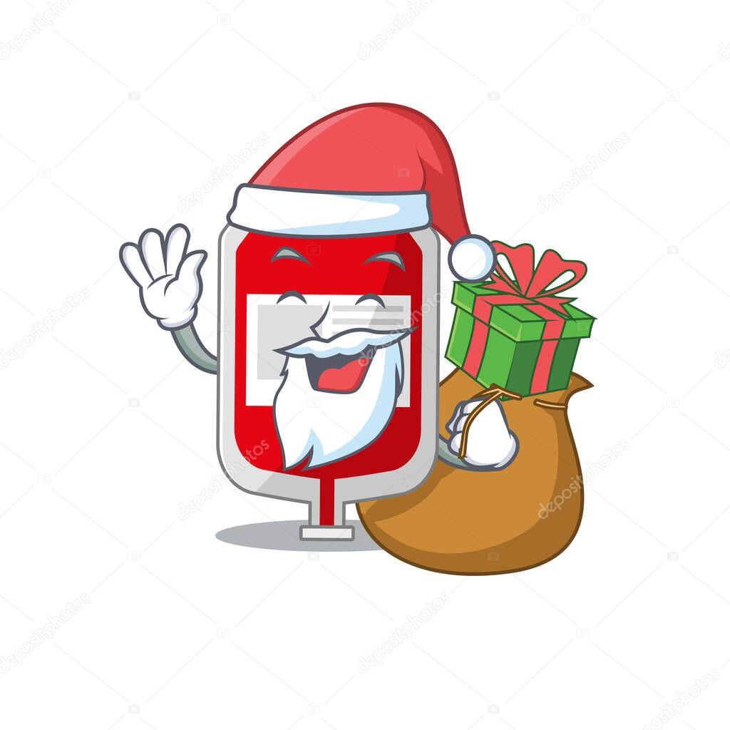Cartoon design of blood plastic bag Santa having Christmas gift icon