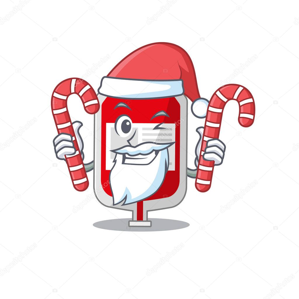 Friendly blood plastic bag dressed in Santa Cartoon character with Christmas candies icon