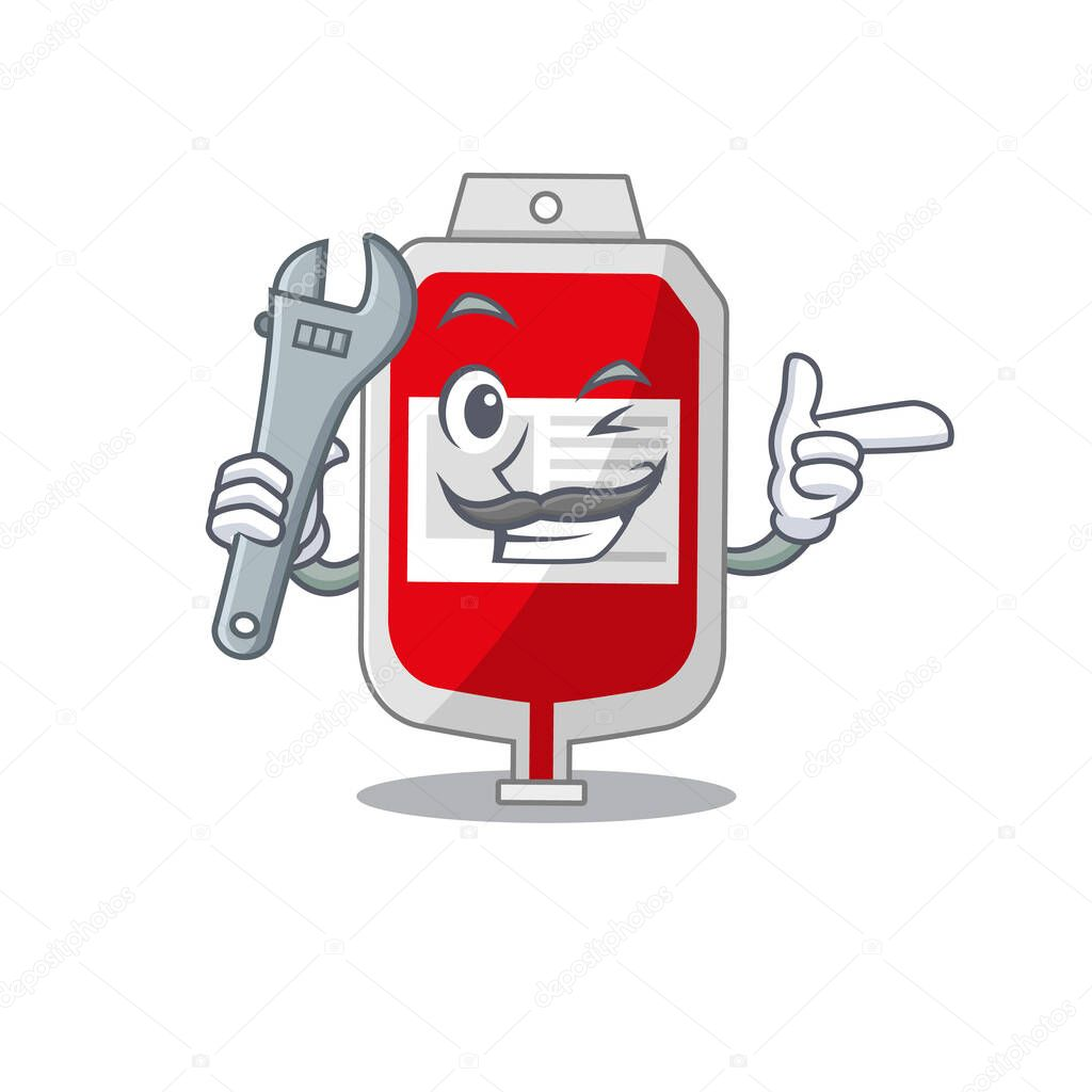 A caricature picture of blood plastic bag working as a mechanic icon
