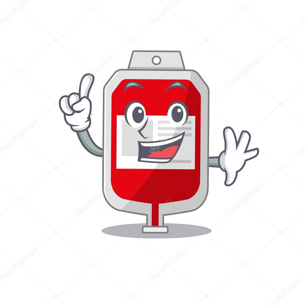 Blood plastic bag caricature design style with one finger gesture icon