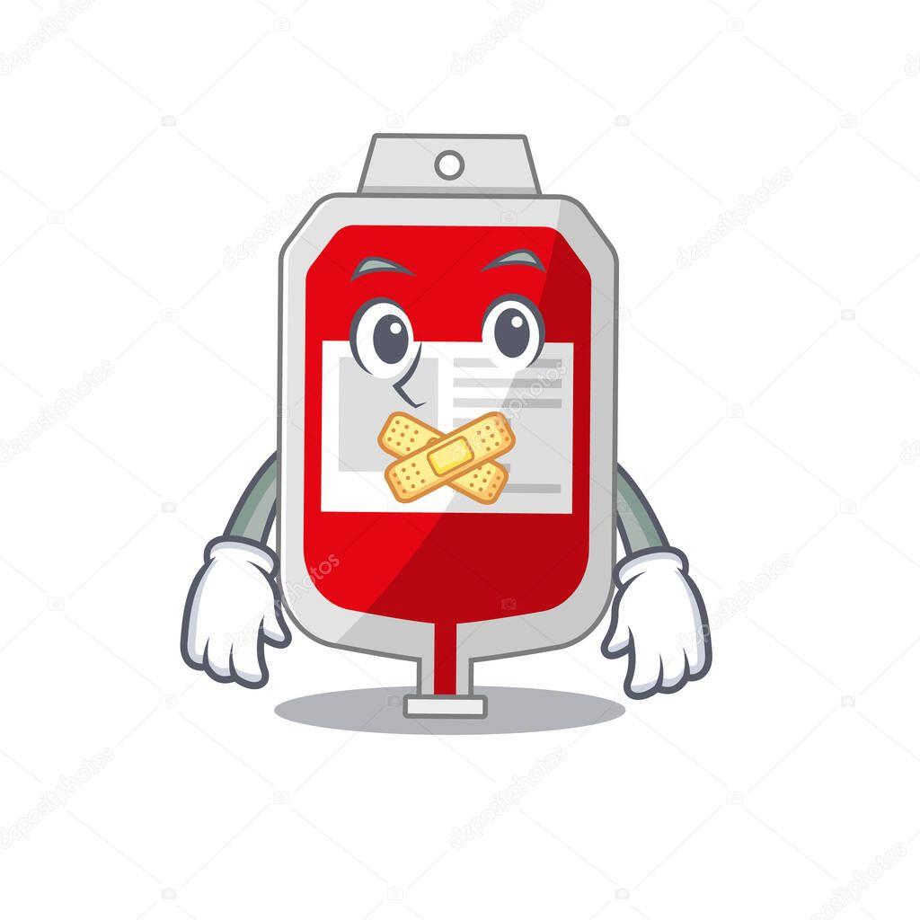 Blood plastic bag cartoon character style having strange silent face icon