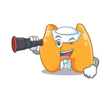 A cartoon picture of thyroid Sailor using binocular