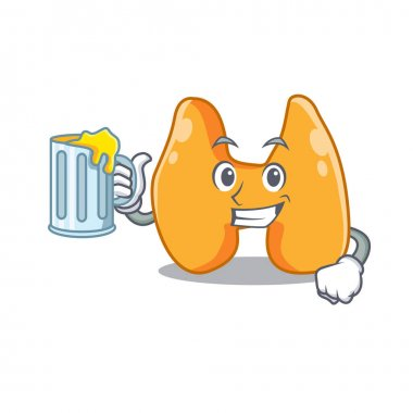 A cartoon concept of thyroid with a glass of beer