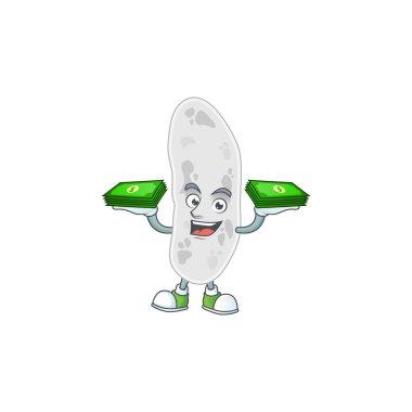 A cheerful gemmatimonadetes cartoon mascot design having some money on hands. Vector illustration