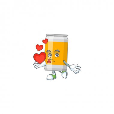 A gorgeous caricature design of beer can with red hearts. Vector illustration icon