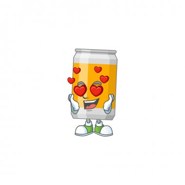 An adorable beer can cartoon mascot style with a falling in love face. Vector illustration icon