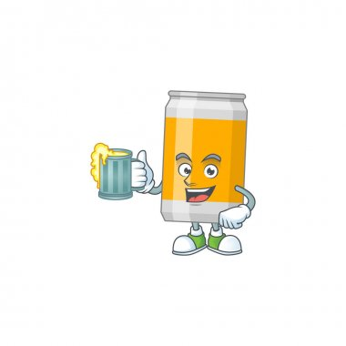 A cheerful beer can cartoon mascot style toast with a glass of beer. Vector illustration icon