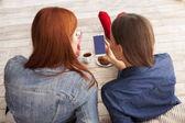 women friends having fun with  coffee