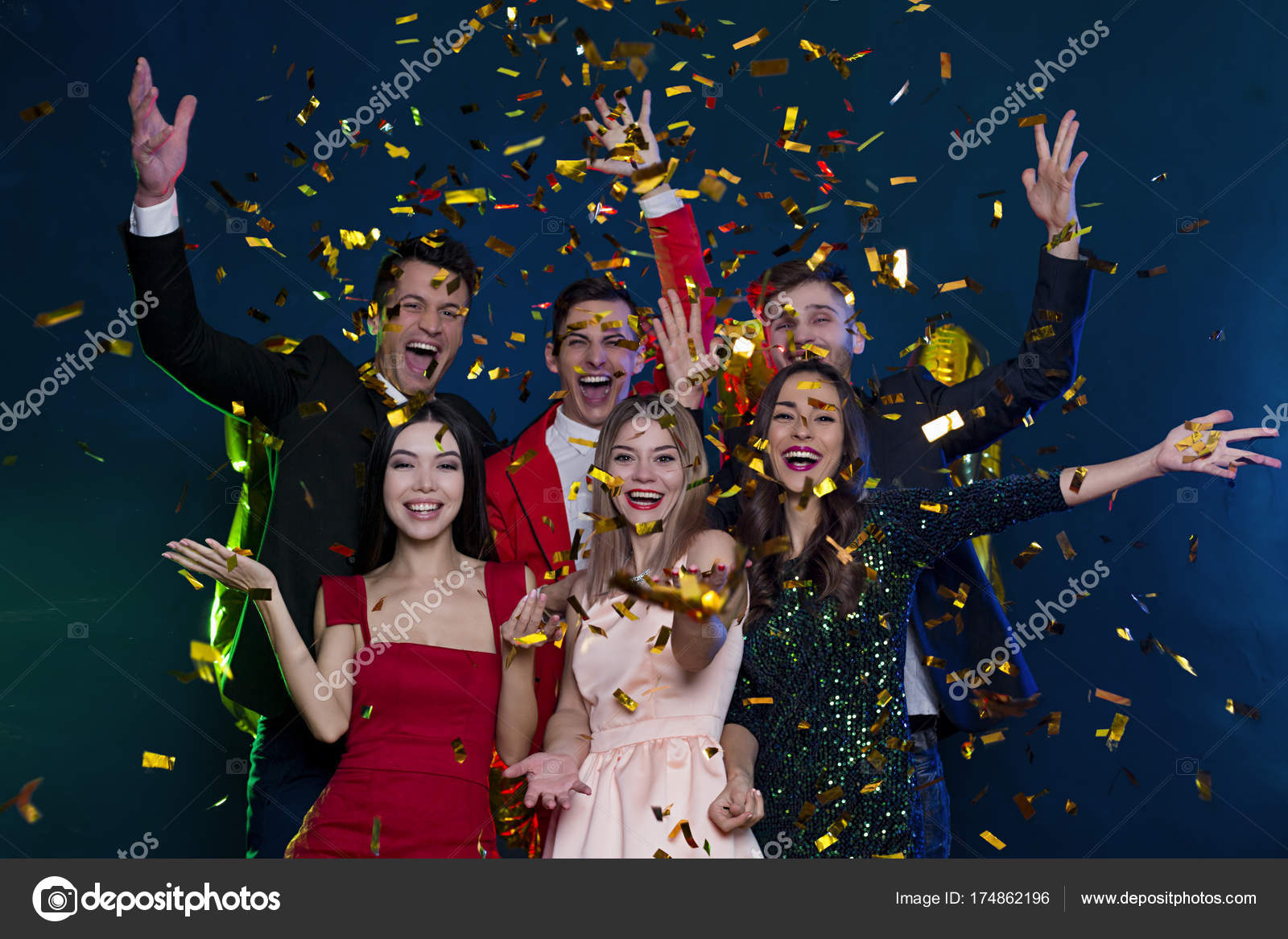 Cool Party Happy Smiling Friends Party Confetti People Holidays ...