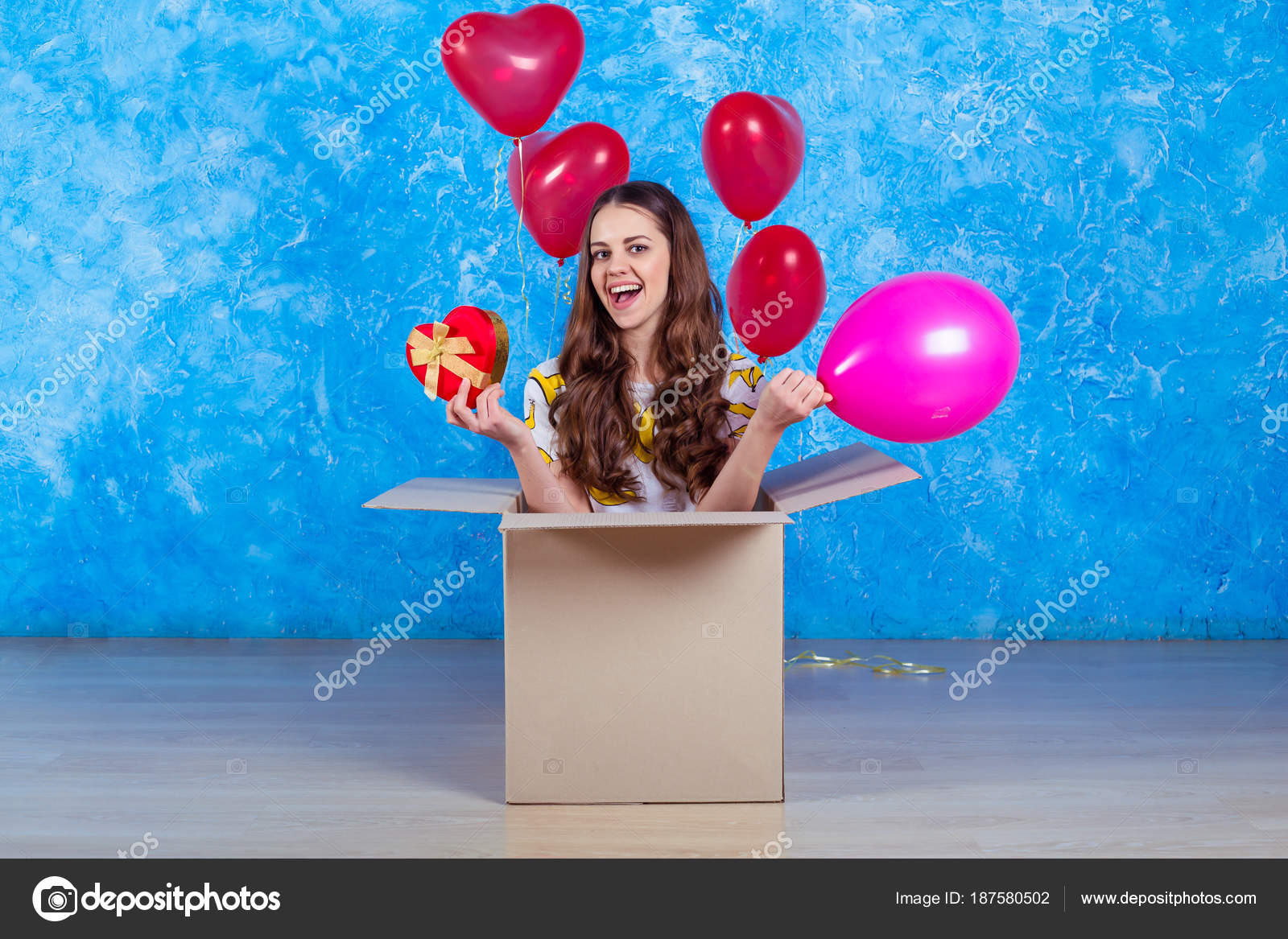 Happy Birthday Funny Smiling Young Girl Sitting Cardboard Box Gift Stock Photo