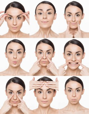 Collage of a sequence Massage for face. Yoga, gymnastics or rejuvenating exercises for the muscle of the face. Woman makes own hands on a white background