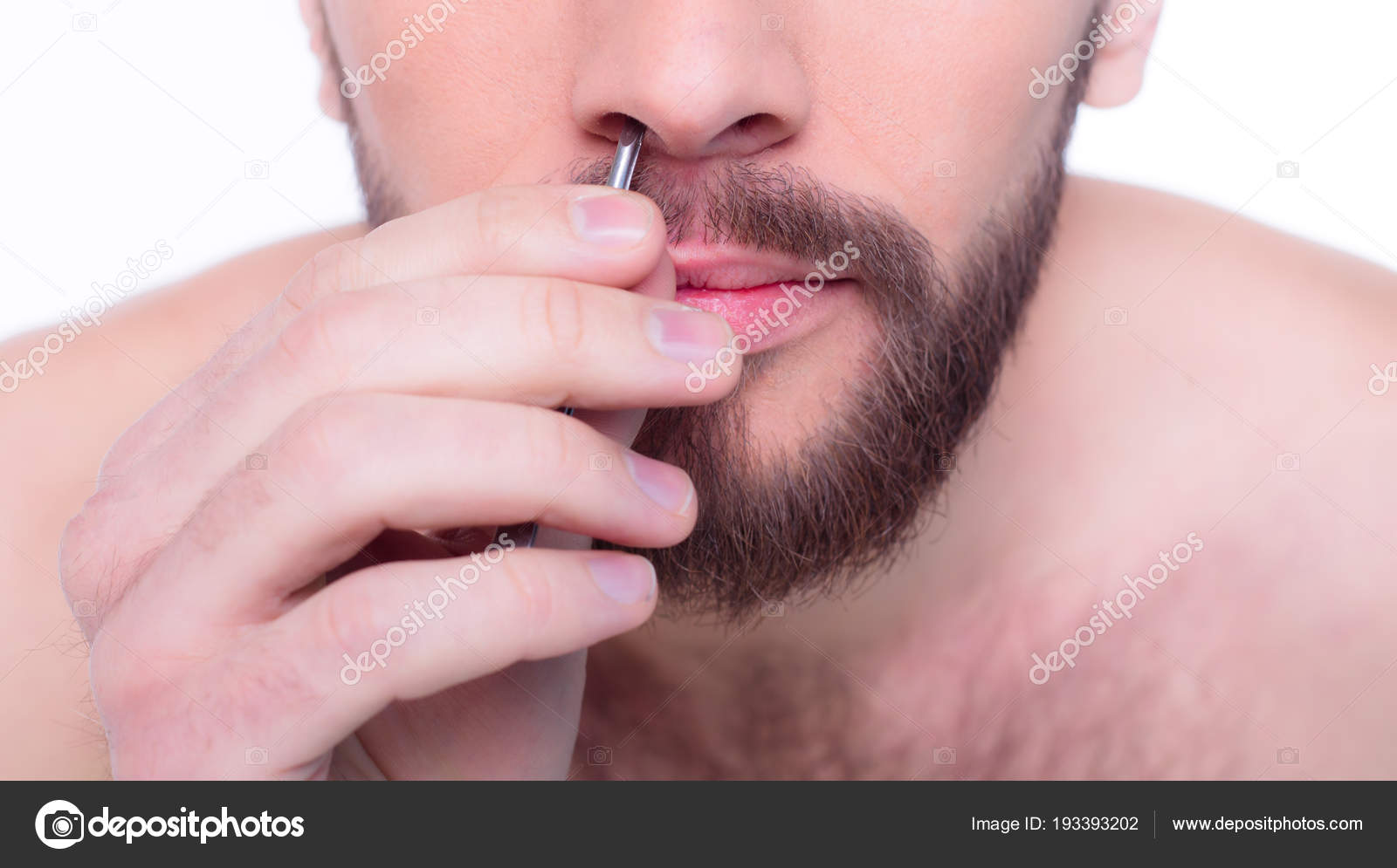 Man Pluck Out Hair His Nose Tweezers — Stock Photo