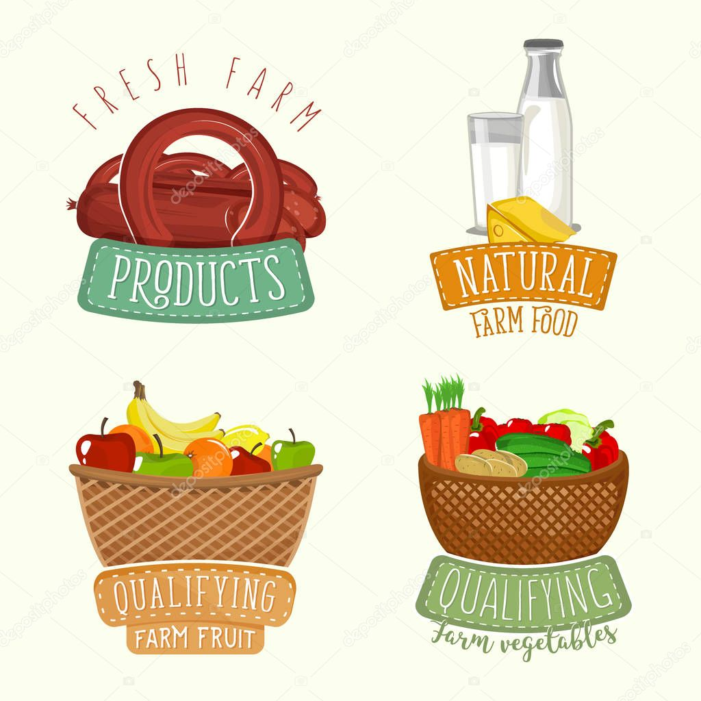 Set Of Logos Design With Farm Organic Products Vector Illustration