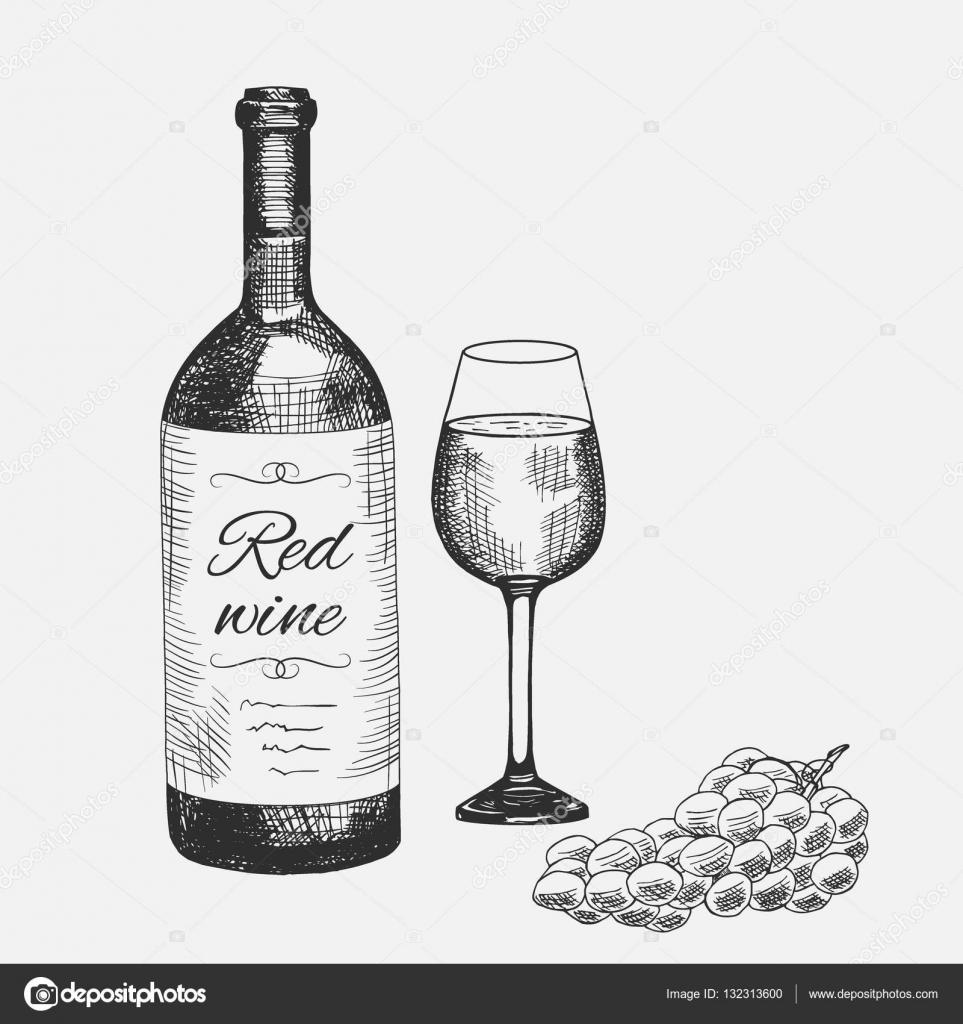 Handgezeichneten Satz von roten Wein Elemente. Vektor-Illustration ...